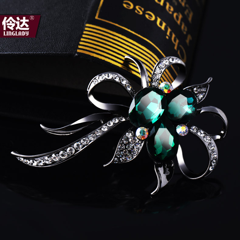 Ling up authentic 2015 new korean version of the dark green crystal flower brooch rhinestone brooch upscale flow line