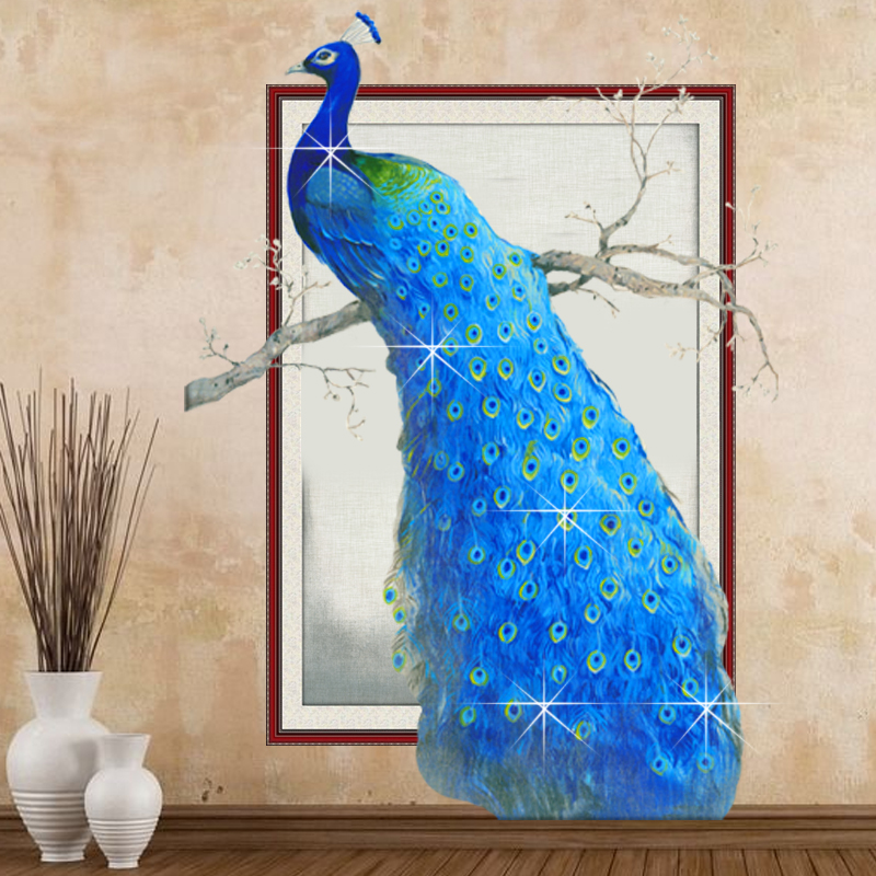 Lingtu 5d round diamond peacock painting full diamond stitch new living room bedroom sharply paintings entrance vertical version of the stick
