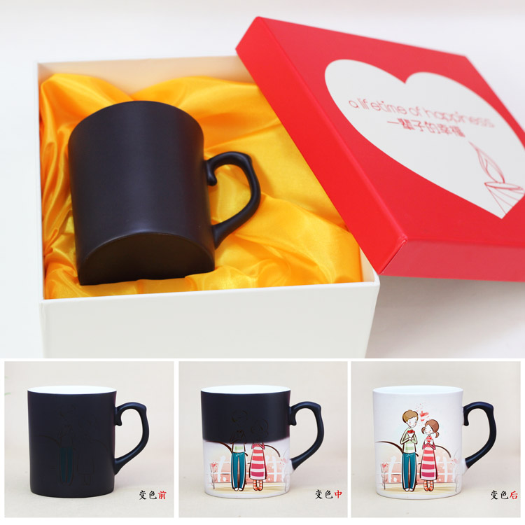 Linyi diy magic magic color cup can put photo mug personalized custom color cup lovers gift