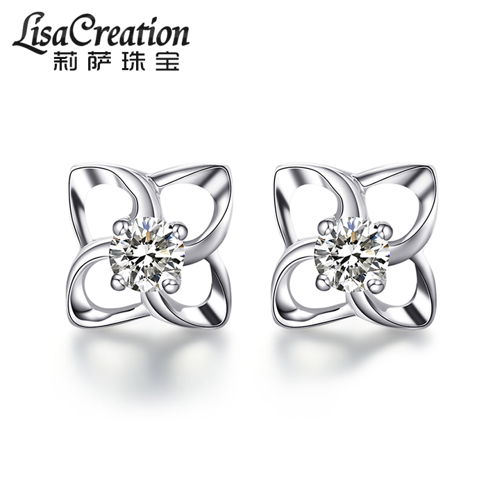 Lisa jewelry k white gold natural diamond earrings earrings k gold diamond stud earrings platinum earrings alone