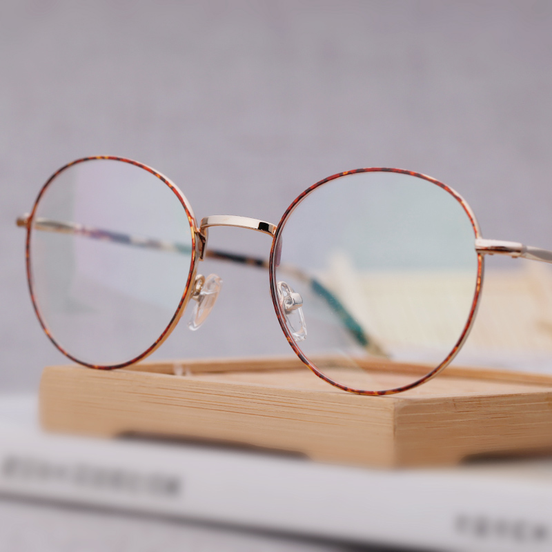c10d761543 Get Quotations · Literary round glasses retro round frame eye box frames  for men and women equipped with anti