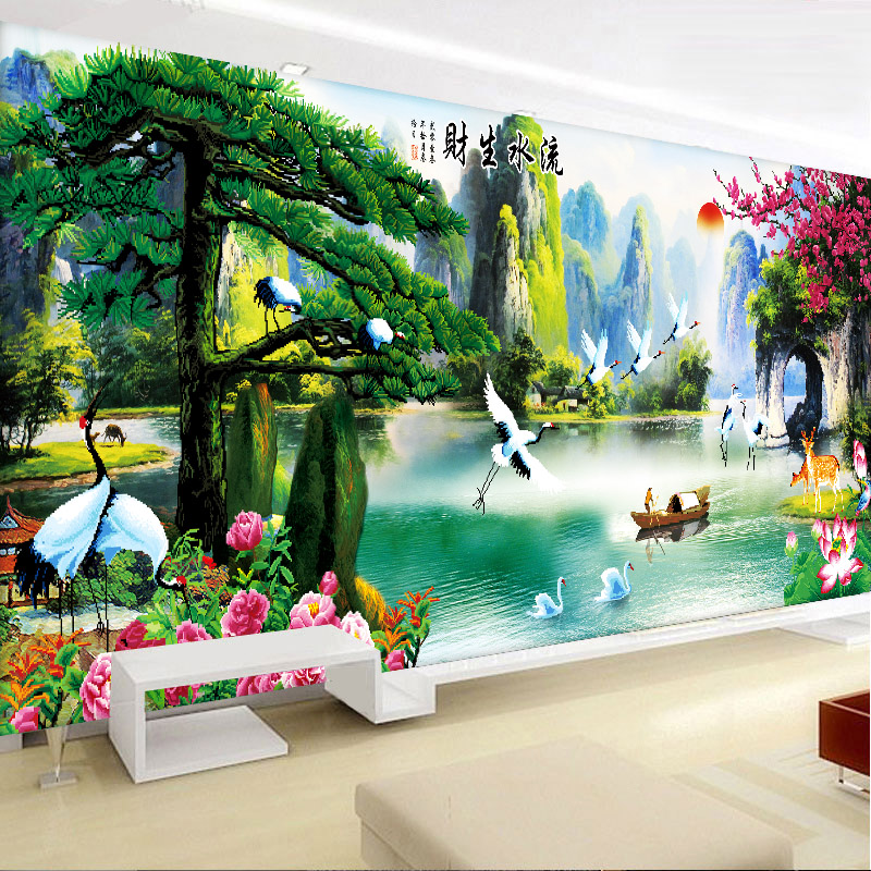 [] Living room full of diamond diamond stitch 5d diamond diamond embroidery painting yingkesong making money flowing embroidered diamond paste diamond drill stitch