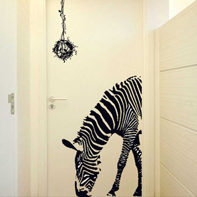 Living room sofa bedroom hallway entrance door bedroom bar black and white zebra creative european decorative wall stickers free shipping