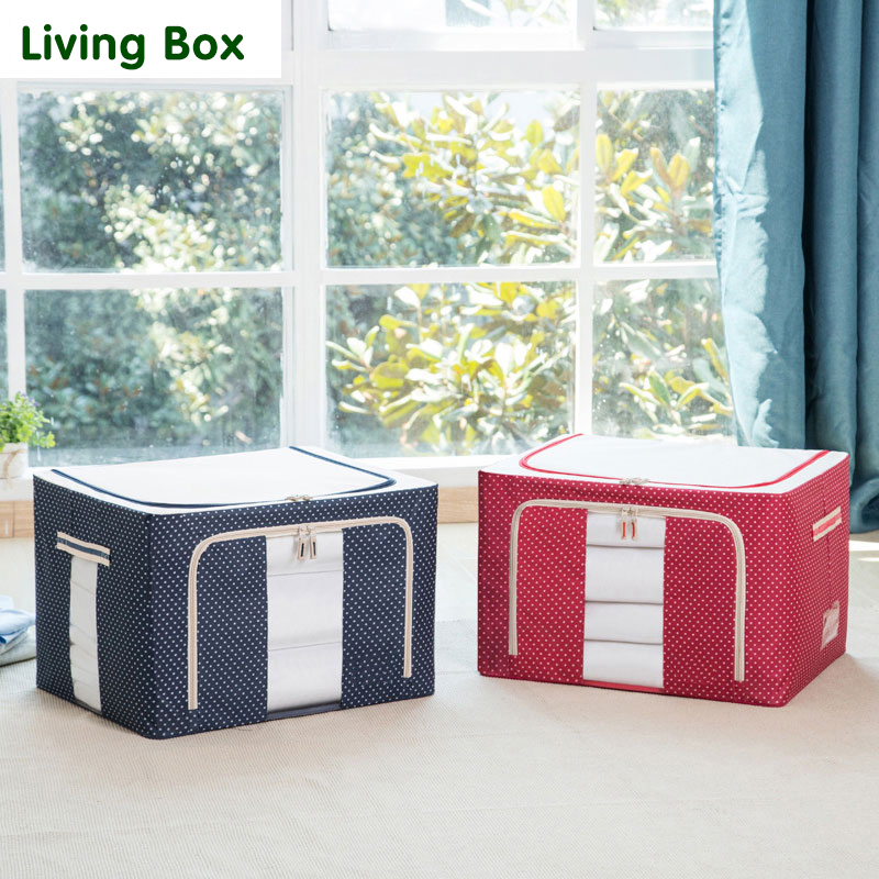 Livingbox super loaded cassette storage box large clothes quilt finishing 88l oxford cloth storage box folding steel frame