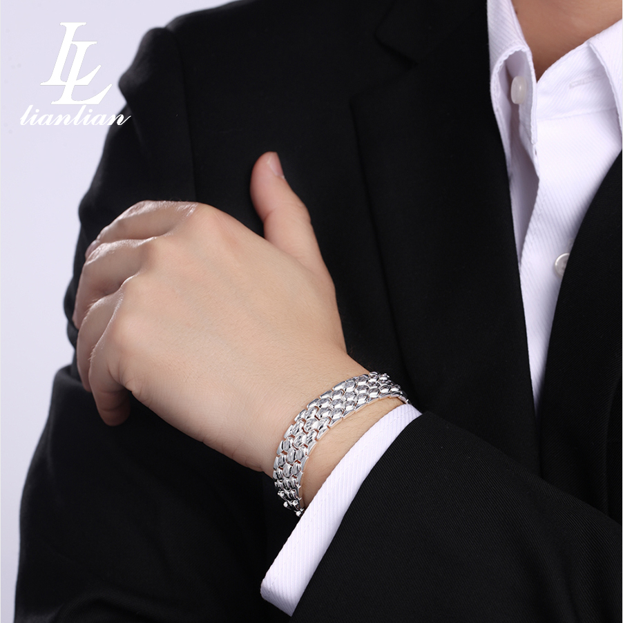 Ll silver s999 fine silver jewelry sterling silver bracelets men domineering fashion business to send men and god friend gifts