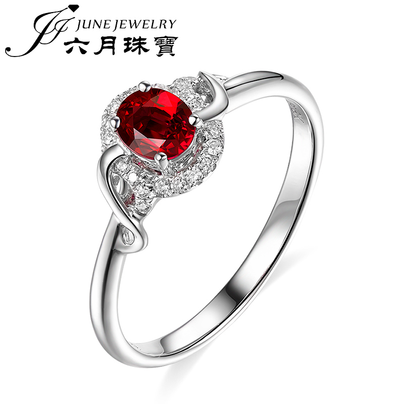 Lloyd's rep. jewelry/jewelry without burning natural mozambique in June female ruby ring 18 k white gold oval