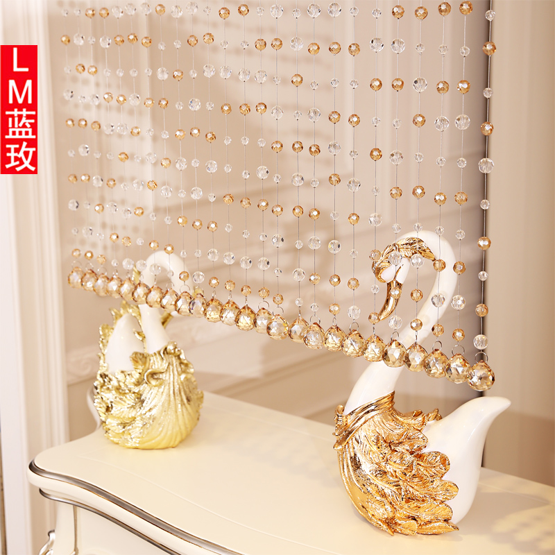 Lm portieres transparent gold champagne crystal bead curtain finished off the living room curtain decorative curtain crystal glass curtain