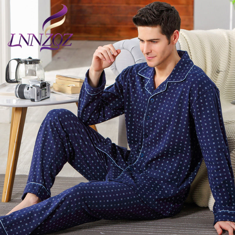 Lnnzqz winter new men's european and american style fashion small lapel long sleeve conventional home cotton pajamas 1489