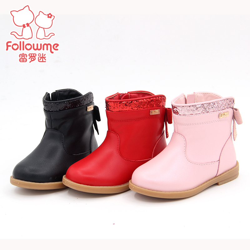 Lo fu fan of children's shoes baby shoes 2016 new winter boots really piga velvet princess baby toddler baby cotton boots