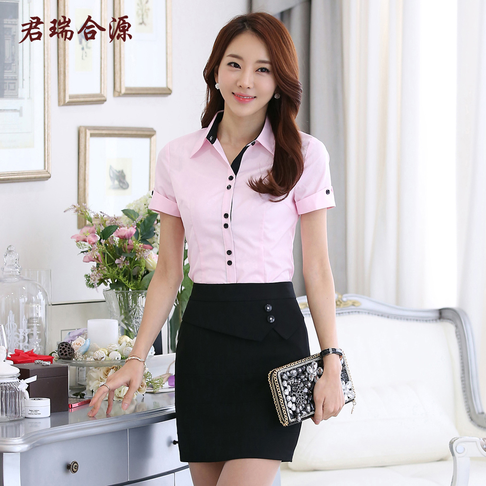 Lobby manager reception overalls summer uniforms short sleeve slim shirt overalls shirt female casher