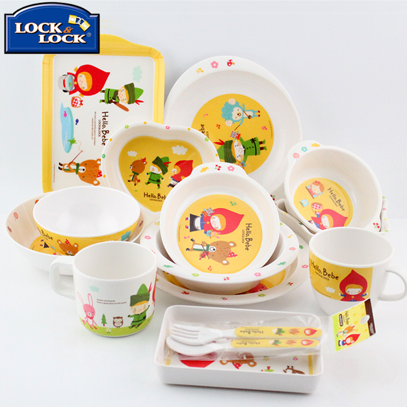 Lock hello bebe baby child watercups melamine plate bowl chopsticks spoon cutlery