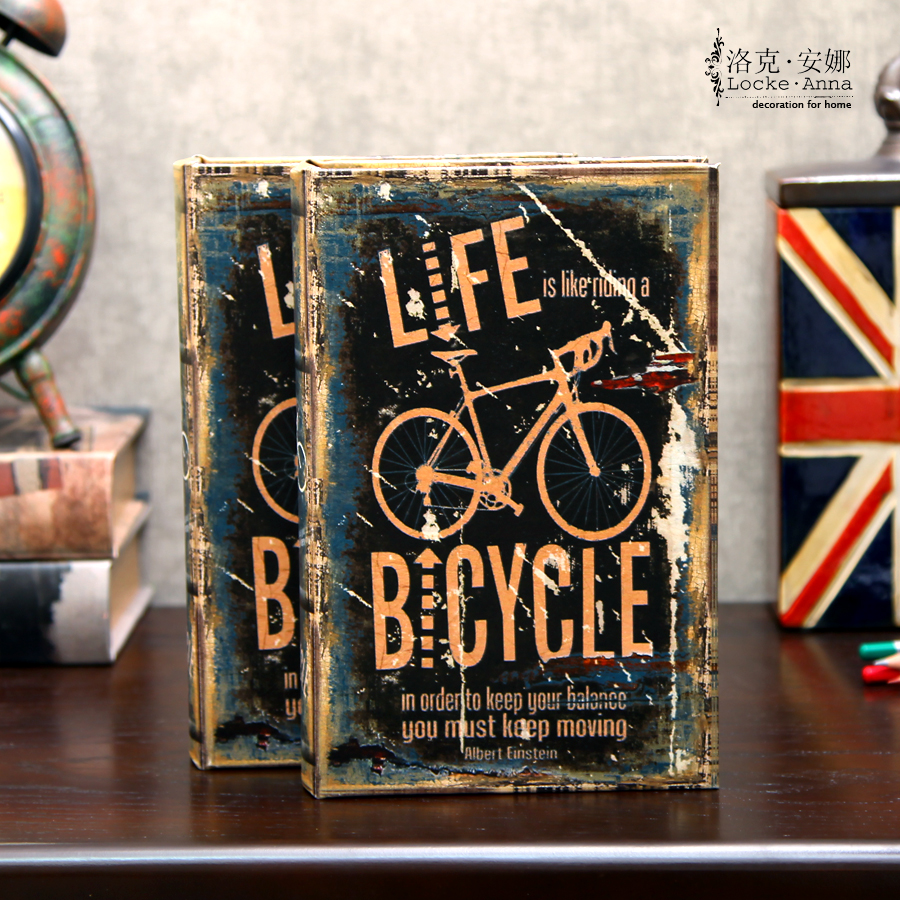 Locke anna european american bicycle retro emulation fake book props book book book decorative fake books have a single this