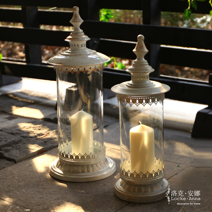 Locke anna european american vintage wrought iron glass candlestick large lantern creative romantic road with ornaments