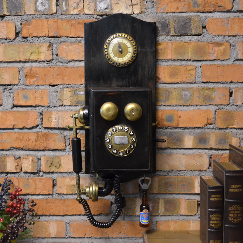 Loft retro nostalgia phone machine model living room decorative wall clock watch creative shop coffee shop bar decorations
