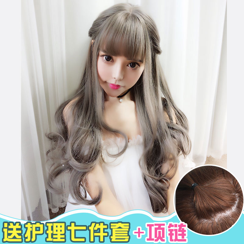 Long curly hair wig female round face big wave liu qi carve wig oblique bangs pear hair natural and realistic