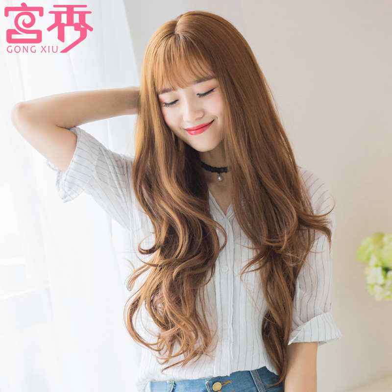 Long curly hair wig female round face korean carve long curly hair big wave oblique bangs repair face realistic fake hair Set