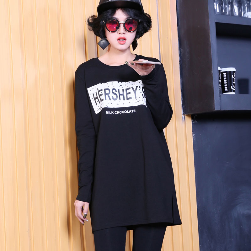 Long section of thin sweater female 2016 spring new korean version of hedging loose t-shirt bottoming shirt long sleeve dress