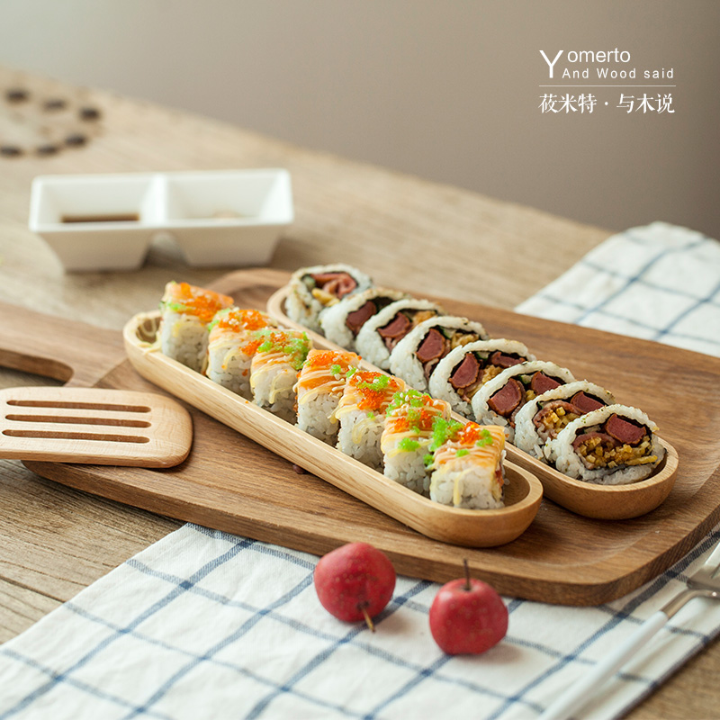 Long strip of natural wood wind japanese bamboo sushi tray rectangular sushi dish sushi plate breakfast bread
