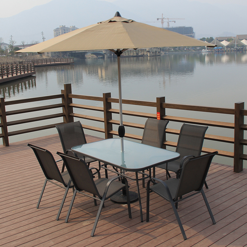 Long table and chairs balcony patio outdoor furniture umbrella outdoor leisure garden wrought iron coffee tables and chairs combination package