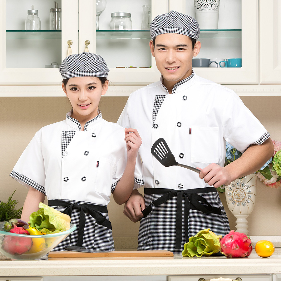 Long wei chef clothing short sleeve summer uniforms western hotel restaurant chef service hotel chef clothing kitchen clothing chef restaurant chef uniforms