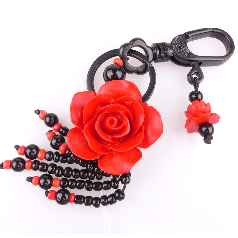 Long yi rich flowers roses carved lacquer carved lacquer gift keychain jewelry pendant with ornaments 8000582