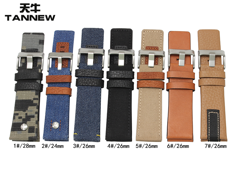 Longicorn adaptering disynthesis leather strap male watch belt nylon stitching DZ1600 DZ4305 DZ7308
