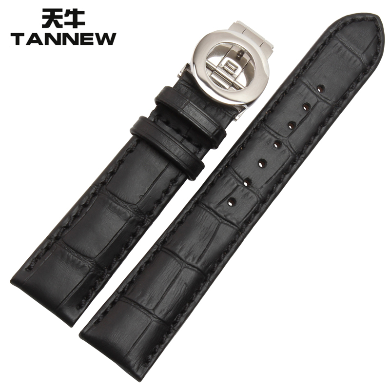 Longicorn replacement bulgari folding buckle leather strap calfskin leather strap male strap 19 20 21mm