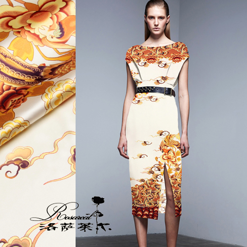 Lothar lyle â china wind digital printing heavy silk stretch satin silk fabric cloth out of feng xiangyun