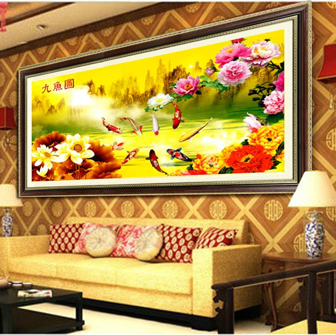 Lotus nine fish figure stitch new living room decal figure 3d stitch stitch lotus nine fish figure feng shui paintings
