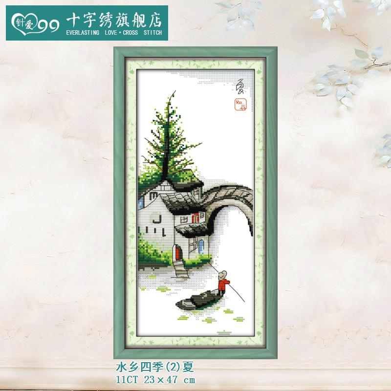 Love 99 new bridges landscape painting quadruple needle series water seasons summer clear printing stitch vertical