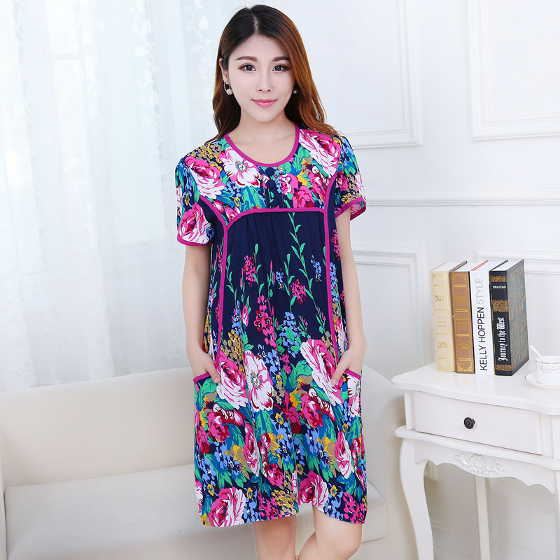 Love beautiful summer short sleeve middle-aged middle-aged korean version was thin thin short sleeve cotton silk cotton silk nightgown nightgown plus fertilizer to increase