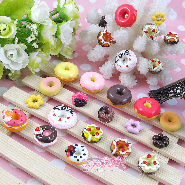 Love biscuit circle cherry fruit dessert donut cake simulation cream diy mobile beauty resin