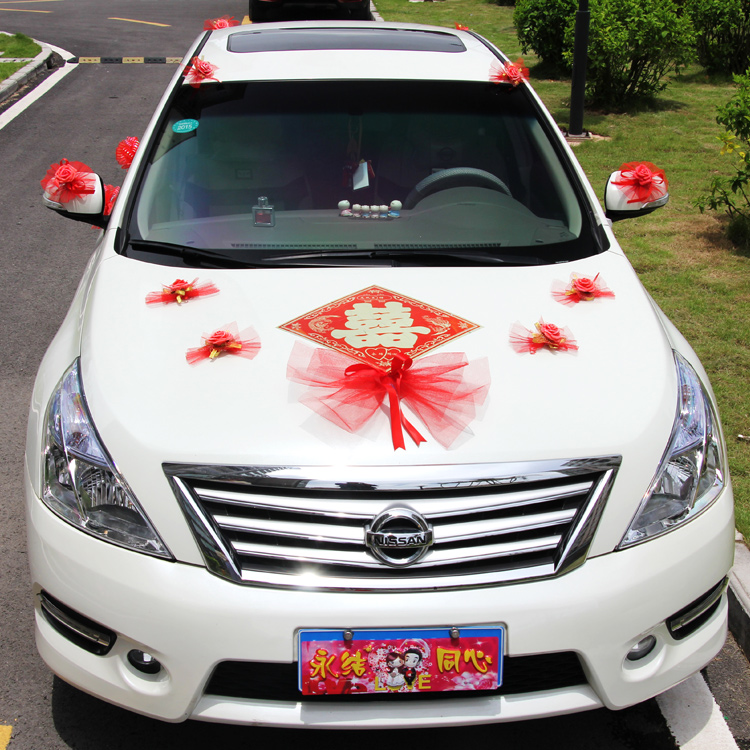 Love bow vice wedding car decorated korean personality creative suite vice wedding car pull yarn bow decoration