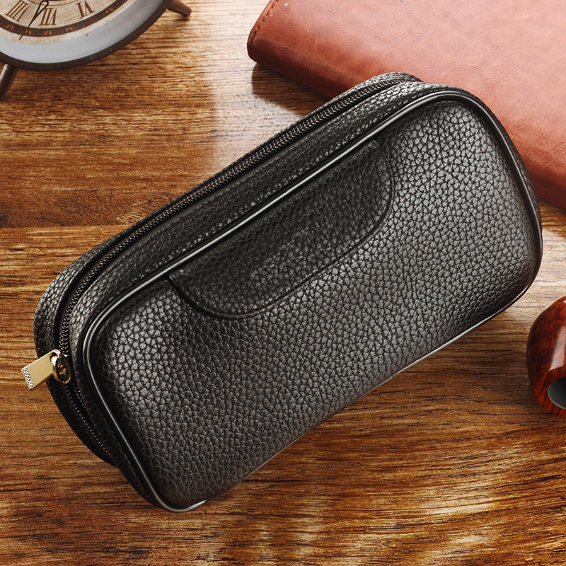 Love bucket shi pipe bag leather portable ebony briar tobacco bucket accessories leather bag men clutch double Doo doo