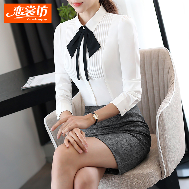 Love couture square ol career dress suit white dress shirt female autumn slim was thin long sleeve frock shirt big yards lapel