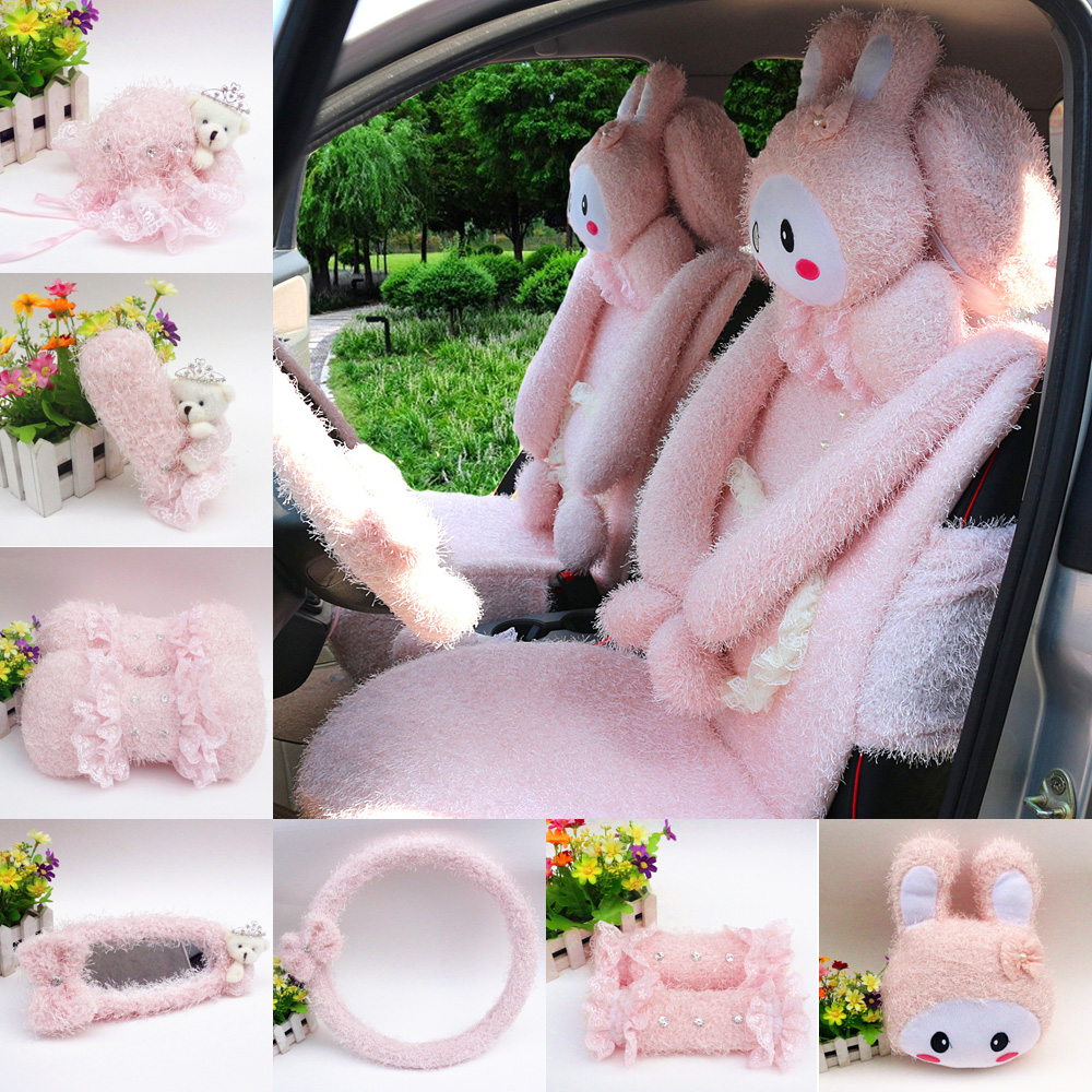 Love cute cartoon rabbit plush winter car accessories kit rearview mirror steering wheel handbrake sleeve gears sets
