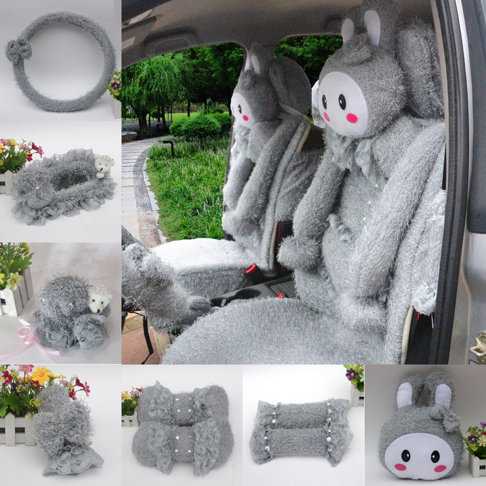 Love cute cartoon rabbit plush winter car accessories kit rearview mirror steering wheel sets of gears sets gray
