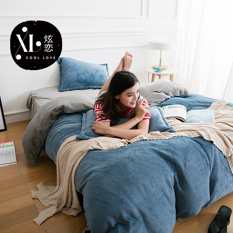 Love hyun m quilt law levin velvet family of four solid thick winter models flannel coral velvet three sets of bed linen