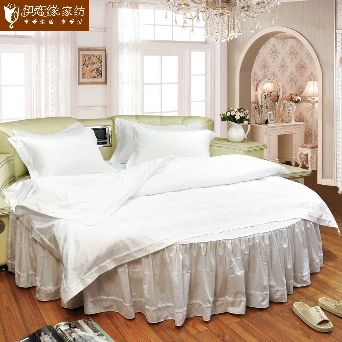 Love iraqi edge cotton satin lace round round bed bedding bedspread family of four hotels royal style