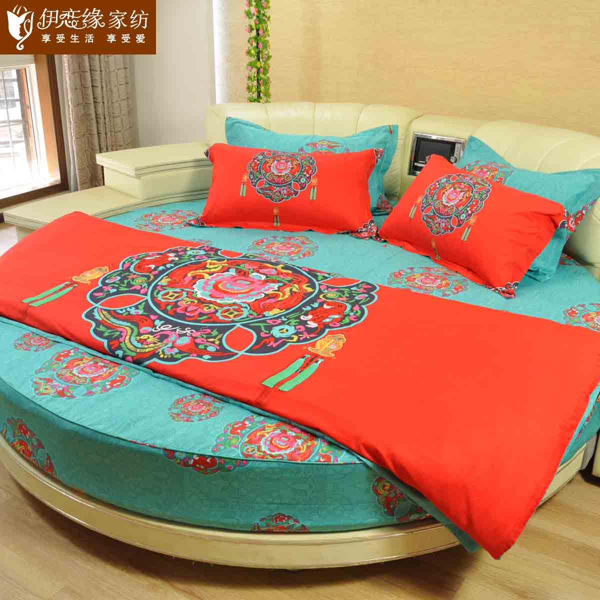 Love iraqi edge round bed bedding package wedding ethnic style chinese knot round bed li family of four menghuitangzhao