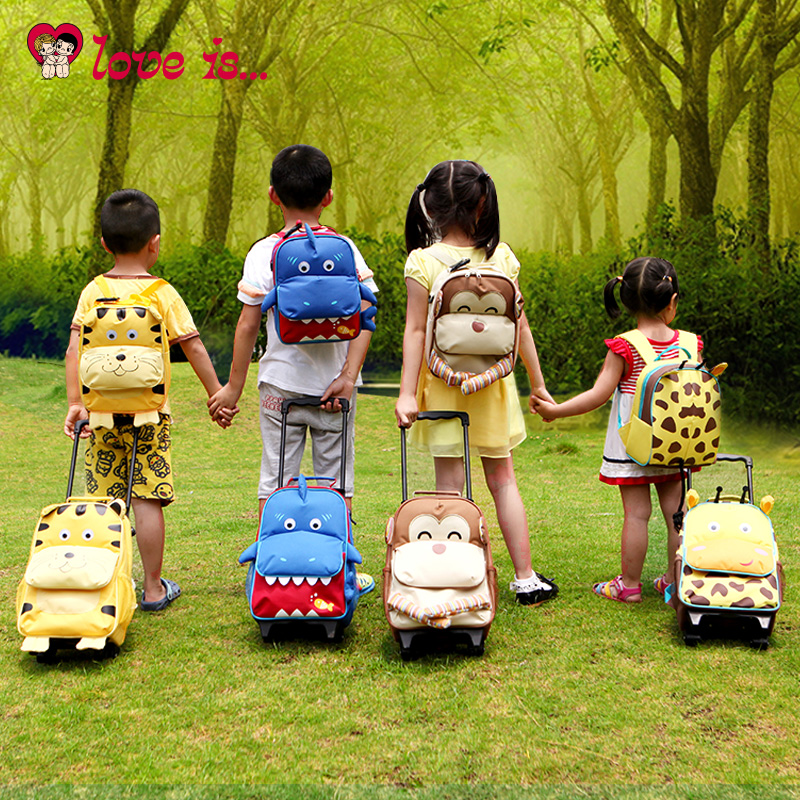 Love is with trolley backpack bag with three out of school age 3-8 suitcase with arbitrary a price