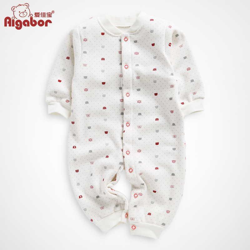 Love jiabao baby coveralls romper climbing clothes newborn baby clothes for men and women in autumn and winter plus velvet warm winter