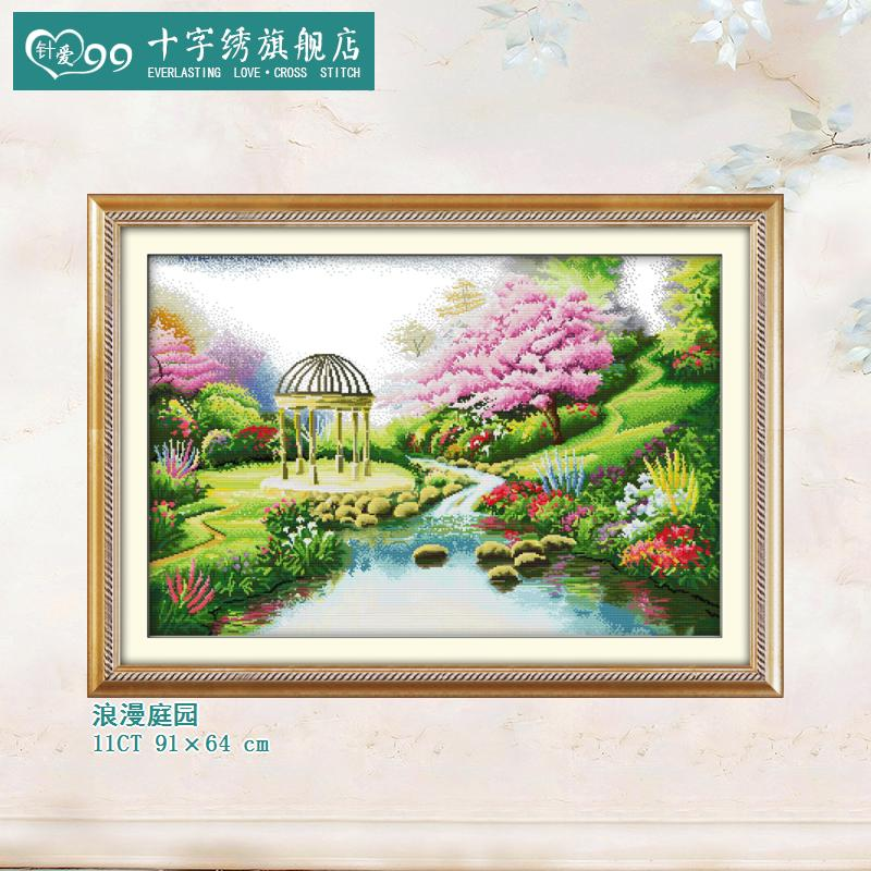 Love needle 99 beautiful romantic garden gazebo beautiful scenery flowers water beautiful cross stitch kit