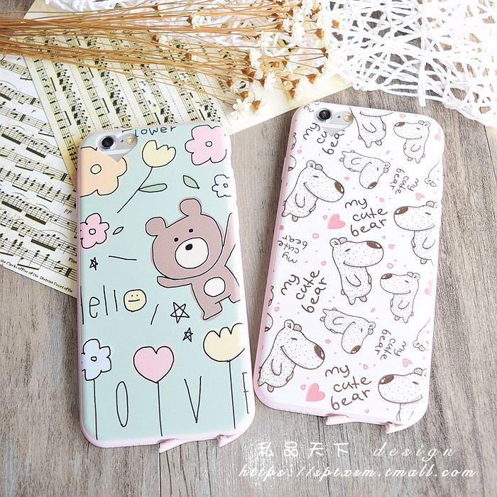 Love pink hole iphone6Splus inch thin soft shell whole package silicone phone shell apple 5.5 cartoon bear