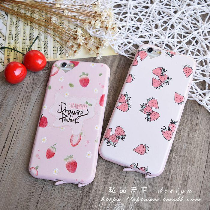 Love pink hole iphone6Splus whole package silicone phone shell apple 5.5 thin soft shell fresh strawberries