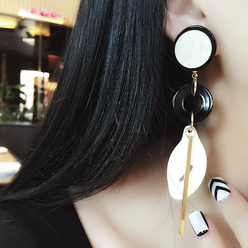 Love to enjoy european and american punk style fashion temperament exaggerated retro tassel earrings long section of acrylic exquisite wild accessories