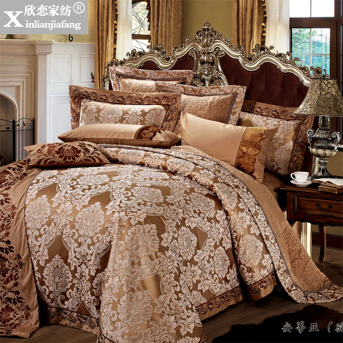 Love welcomes textile upscale european home villa software installed ten sets of bedding silk satin jacquard bed cover