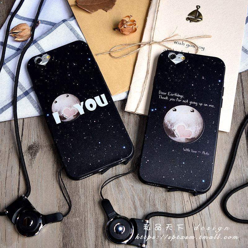 Love with dust plug hole iphone6Splus whole package phone shell apple 5.5 thin soft sky lovers
