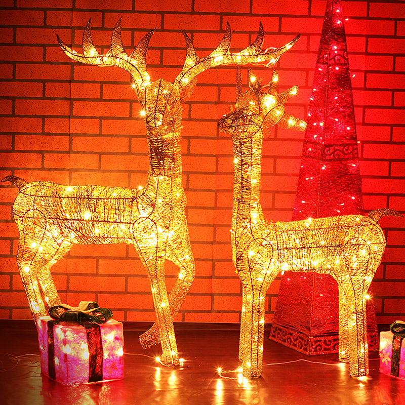 Love wrought iron stand 1.2 silver and gold christmas decorations christmas deer christmas deer window scene ornaments