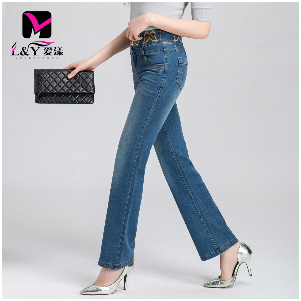 Love yang 2016 hitz weila jeans female waist straight trousers flared trousers slim pants big yards ladies
